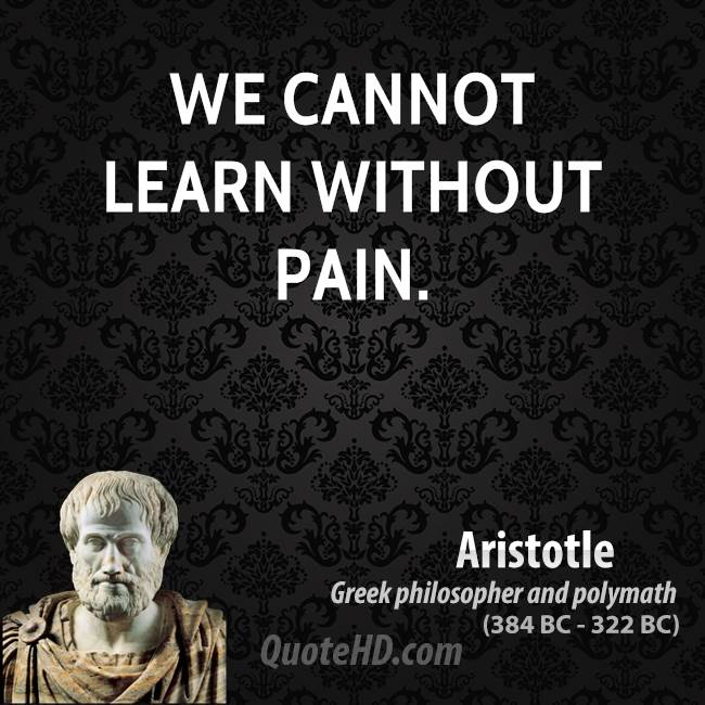 We cannot learn without pain.