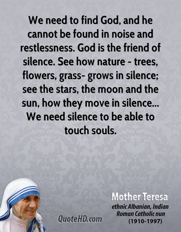 We need to find God, and he cannot be found in noise and restlessness. God is the friend of silence. See how nature - trees, flowers, grass- grows in silence; see the stars, the moon and the sun, how they move in silence... We need silence to be able to touch souls.