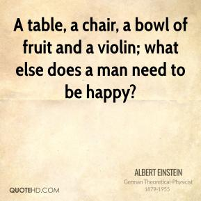 Albert Einstein - A table, a chair, a bowl of fruit and a violin; what else does a man need to be happy?