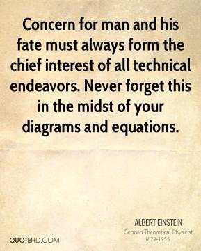 Albert Einstein - Concern for man and his fate must always form the chief interest of all technical endeavors. Never forget this in the midst of your diagrams and equations.