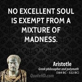 No excellent soul is exempt from a mixture of madness.