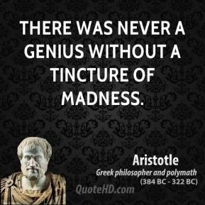 Aristotle - There was never a genius without a tincture of madness.