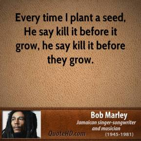Bob Marley - Every time I plant a seed, He say kill it before it grow, he say kill it before they grow.