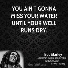 You ain't gonna miss your water until your well runs dry.