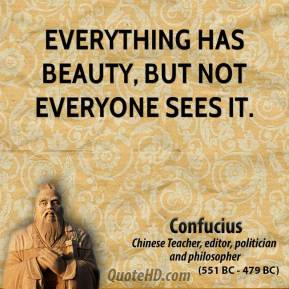 Confucius - Everything has beauty, but not everyone sees it.