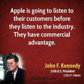 Apple is going to listen to their customers before they listen to the industry. They have commercial advantage.