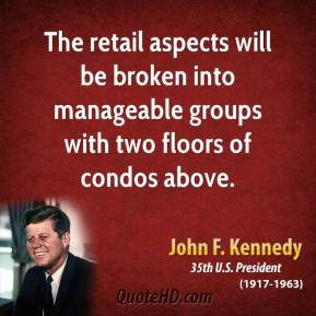 The retail aspects will be broken into manageable groups with two floors of condos above.