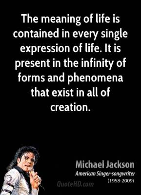 Michael Jackson - The meaning of life is contained in every single expression of life. It is present in the infinity of forms and phenomena that exist in all of creation.