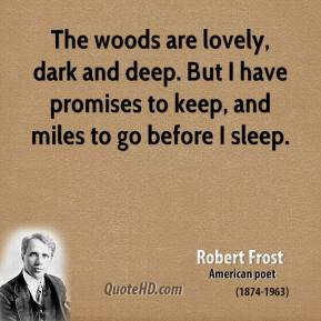 The woods are lovely, dark and deep. But I have promises to keep, and miles to go before I sleep.