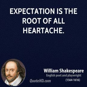 William Shakespeare - Expectation is the root of all heartache.