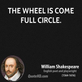 The wheel is come full circle.