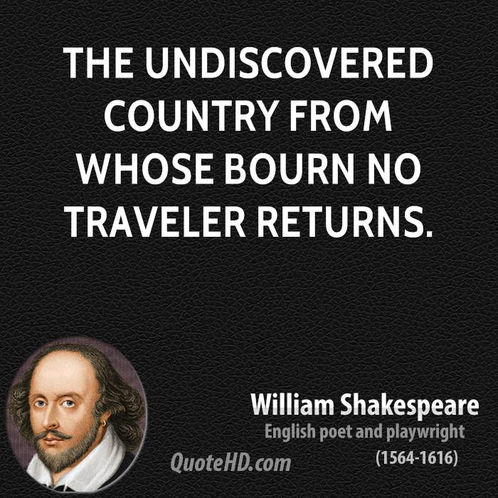 The undiscovered country from whose bourn no traveler returns.
