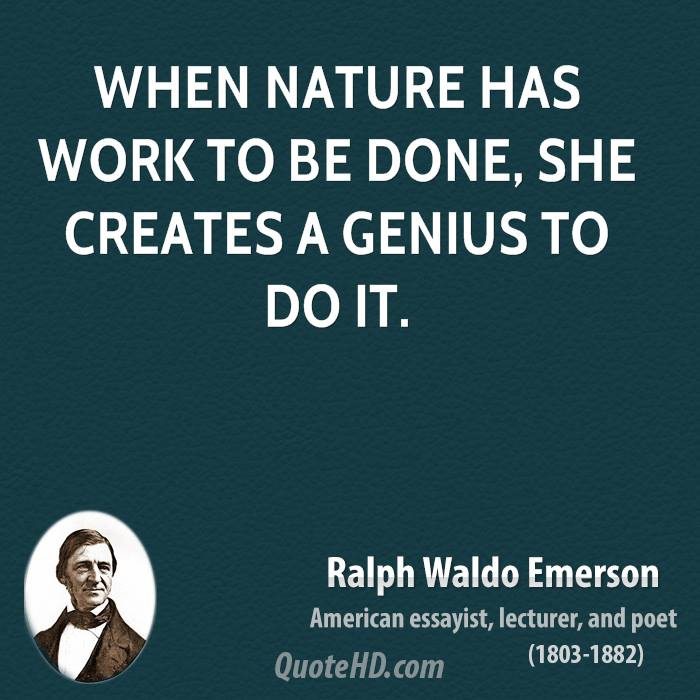 When nature has work to be done, she creates a genius to do it.