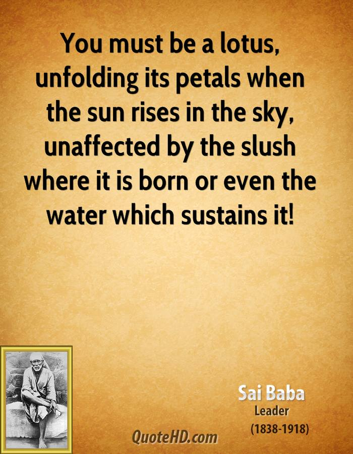 You must be a lotus, unfolding its petals when the sun rises in the sky, unaffected by the slush where it is born or even the water which sustains it!