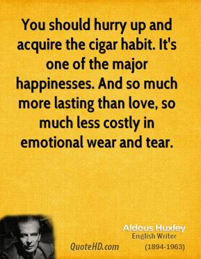 You should hurry up and acquire the cigar habit. It's one of the major happinesses. And so much more lasting than love, so much less costly in emotional wear and tear.