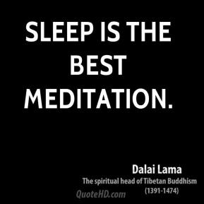 Sleep is the best meditation.