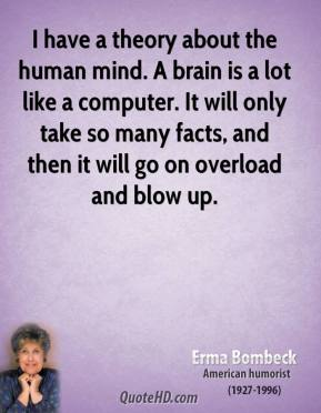 I have a theory about the human mind. A brain is a lot like a computer. It will only take so many facts, and then it will go on overload and blow up.