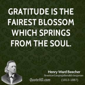 Henry Ward Beecher - Gratitude is the fairest blossom which springs from the soul.