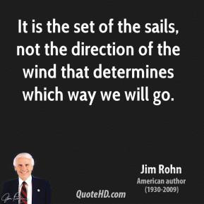 Jim Rohn - It is the set of the sails, not the direction of the wind that determines which way we will go.
