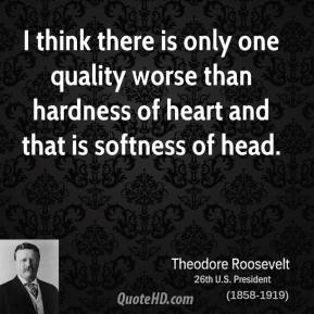 Theodore Roosevelt - I think there is only one quality worse than hardness of heart and that is softness of head.