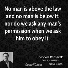 Theodore Roosevelt - No man is above the law and no man is below it: nor do we ask any man's permission when we ask him to obey it.