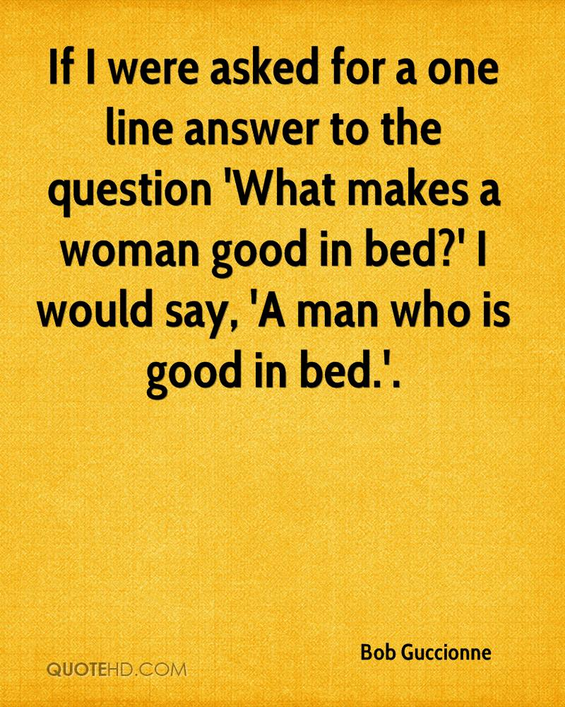 What makes a woman good in bed