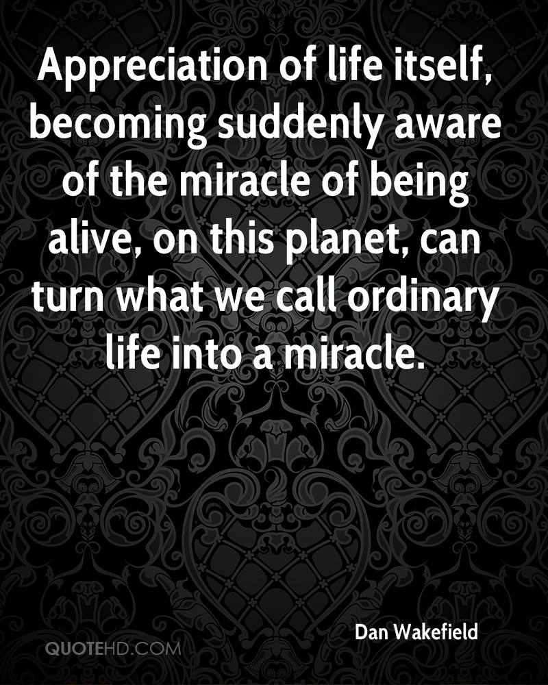 Appreciation of life itself, becoming suddenly aware of the miracle of being alive, on this planet, can turn what we call ordinary life into a miracle.
