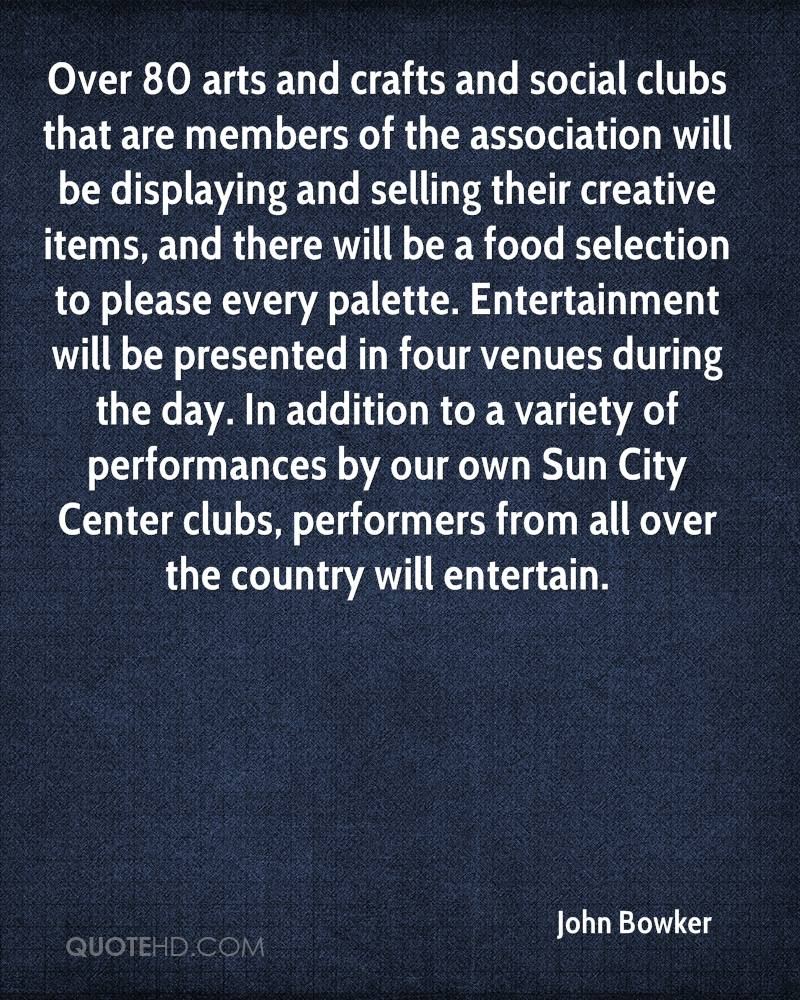Over 80 arts and crafts and social clubs that are members of the association will be displaying and selling their creative items, and there will be a food selection to please every palette. Entertainment will be presented in four venues during the day. In addition to a variety of performances by our own Sun City Center clubs, performers from all over the country will entertain.