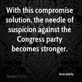 Arun Jaitely - With this compromise solution, the needle of suspicion against the Congress party becomes stronger.