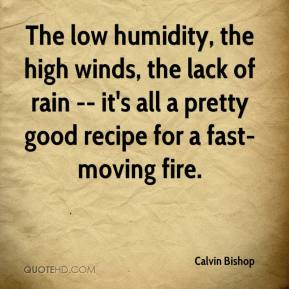 Calvin Bishop - The low humidity, the high winds, the lack of rain -- it's all a pretty good recipe for a fast-moving fire.