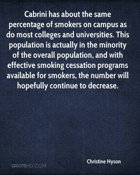 Christine Hyson - Cabrini has about the same percentage of smokers on campus as do most colleges and universities. This population is actually in the minority of the overall population, and with effective smoking cessation programs available for smokers, the number will hopefully continue to decrease.