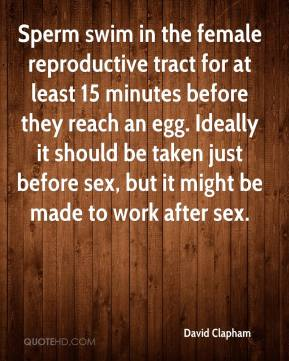 David Clapham - Sperm swim in the female reproductive tract for at least 15 minutes before they reach an egg. Ideally it should be taken just before sex, but it might be made to work after sex.