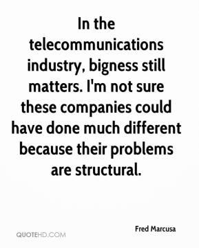 Fred Marcusa - In the telecommunications industry, bigness still matters. I'm not sure these companies could have done much different because their problems are structural.