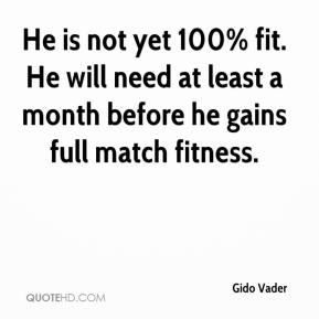 Gido Vader - He is not yet 100% fit. He will need at least a month before he gains full match fitness.