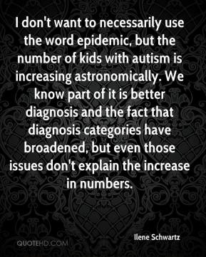 Ilene Schwartz - I don't want to necessarily use the word epidemic, but the number of kids with autism is increasing astronomically. We know part of it is better diagnosis and the fact that diagnosis categories have broadened, but even those issues don't explain the increase in numbers.