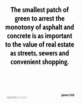 James Felt - The smallest patch of green to arrest the monotony of asphalt and concrete is as important to the value of real estate as streets, sewers and convenient shopping.