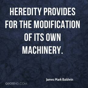 James Mark Baldwin - Heredity provides for the modification of its own machinery.