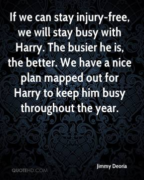 Jimmy Deoria  - If we can stay injury-free, we will stay busy with Harry. The busier he is, the better. We have a nice plan mapped out for Harry to keep him busy throughout the year.