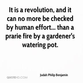 Judah Philip Benjamin - It is a revolution, and it can no more be checked by human effort... than a prarie fire by a gardener's watering pot.
