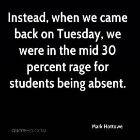 Mark Hottowe  - Instead, when we came back on Tuesday, we were in the mid 30 percent rage for students being absent.