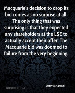 Macquarie's decision to drop its bid comes as no surprise at all. The only thing that was surprising is that they expected any shareholders at the LSE to actually accept their offer. The Macquarie bid was doomed to failure from the very beginning.