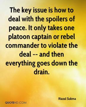 Riazal Sukma  - The key issue is how to deal with the spoilers of peace. It only takes one platoon captain or rebel commander to violate the deal -- and then everything goes down the drain.