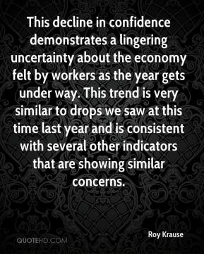 Roy Krause  - This decline in confidence demonstrates a lingering uncertainty about the economy felt by workers as the year gets under way. This trend is very similar to drops we saw at this time last year and is consistent with several other indicators that are showing similar concerns.