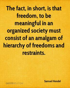 Samuel Hendel  - The fact, in short, is that freedom, to be meaningful in an organized society must consist of an amalgam of hierarchy of freedoms and restraints.