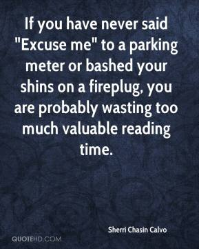 "Sherri Chasin Calvo  - If you have never said ""Excuse me"" to a parking meter or bashed your shins on a fireplug, you are probably wasting too much valuable reading time."