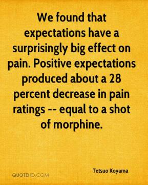 We found that expectations have a surprisingly big effect on pain. Positive expectations produced about a 28 percent decrease in pain ratings -- equal to a shot of morphine.