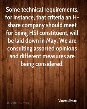 Vincent Kwan  - Some technical requirements, for instance, that criteria an H-share company should meet for being HSI constituent, will be laid down in May. We are consulting assorted opinions and different measures are being considered.
