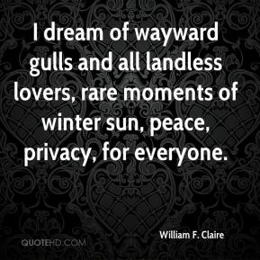 I dream of wayward gulls and all landless lovers, rare moments of winter sun, peace, privacy, for everyone.