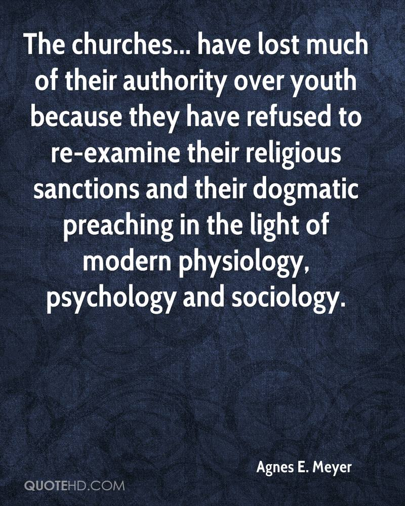 The churches... have lost much of their authority over youth because ...