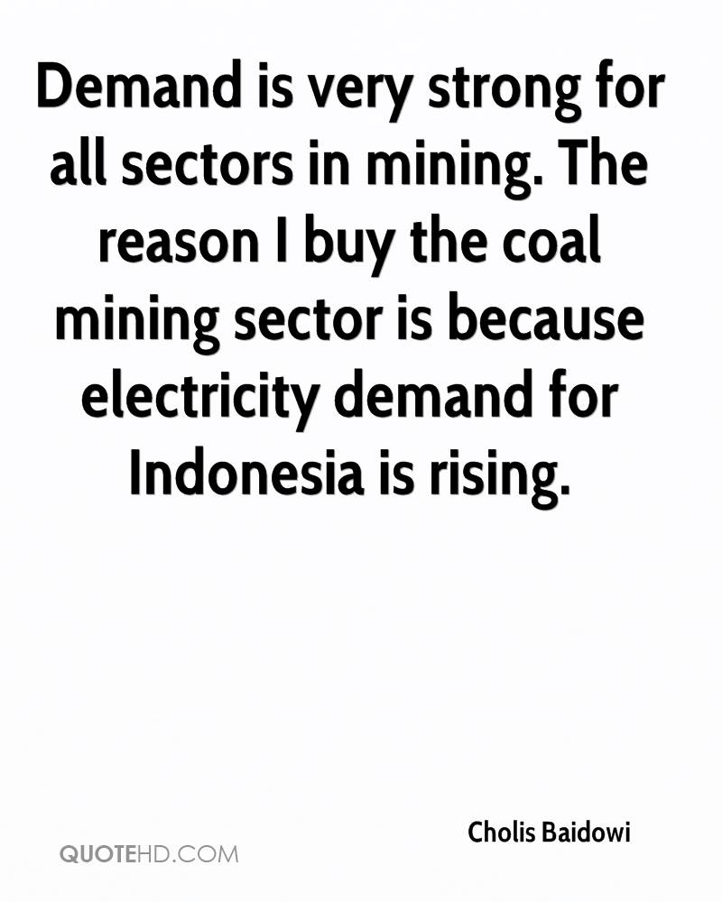 Demand is very strong for all sectors in mining. The reason I buy the coal mining sector is because electricity demand for Indonesia is rising.